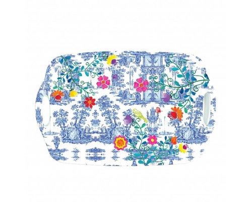 My Secret Garden Toile Medium Melamine Tray - Blue
