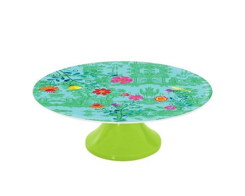 My Secret Garden Toile Melamine Cake Stand - Green
