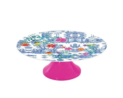 My Secret Garden Toile Melamine Cake Stand - Blue