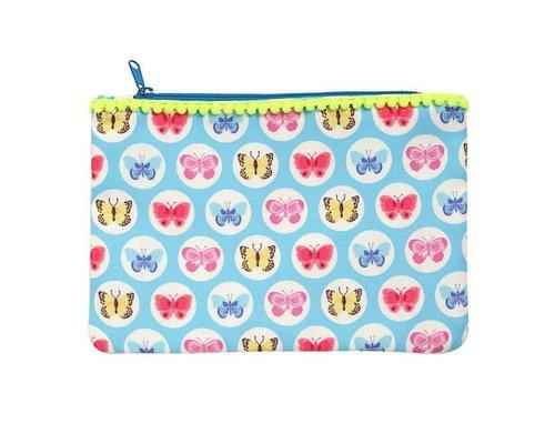 Happy Butterflies Zip Pouch  - Blue