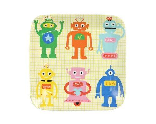 Funky Robots Kids Square Melamine Mini Plate