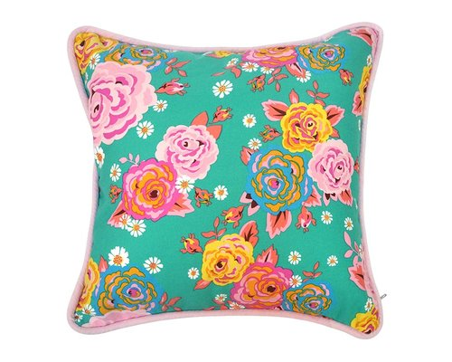 Asian Vintage Flower Cushion with Piping