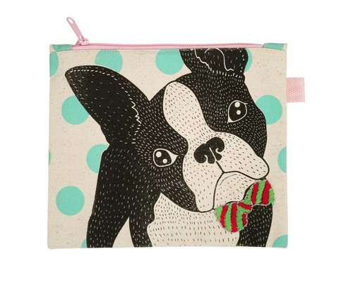Bull Dog Bow Tie Zip Pouch