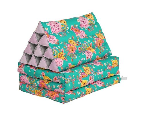 Asian Vintage Flower Triangle Floor Cushion with 3-fold Mattress
