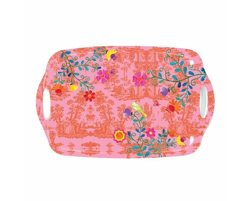 My Secret Garden Toile Medium Melamine Tray - Pink