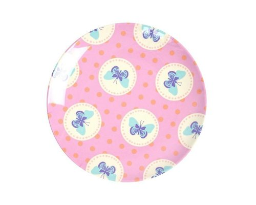 Happy Butterflies Small Melamine Plate - Pink