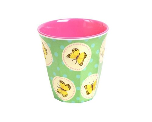 Happy Butterflies Small Melamine Cup - Green
