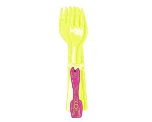 Funky Neon 6 Melamine Cake Forks - Lemonade