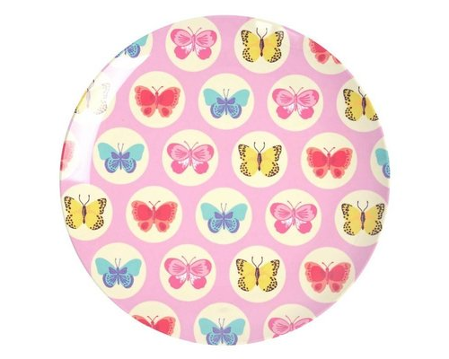 Happy Butterflies Lunch Plate  - Pink