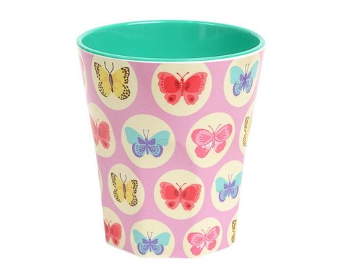 Happy Butterflies Large Melamine Cup Pink - Pink