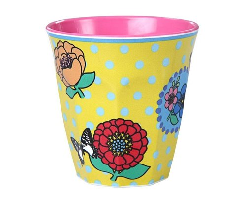 Vintage Flowers Small Melamine Cup