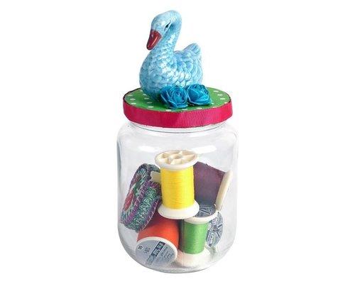Glass Jar  Swan - Blue
