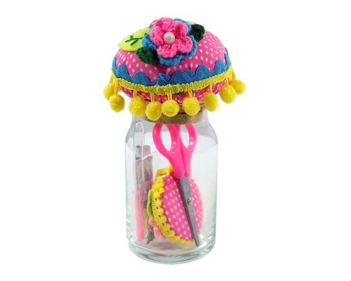 Sewing Kit with Pin Cushion in Glass Jar - Pink