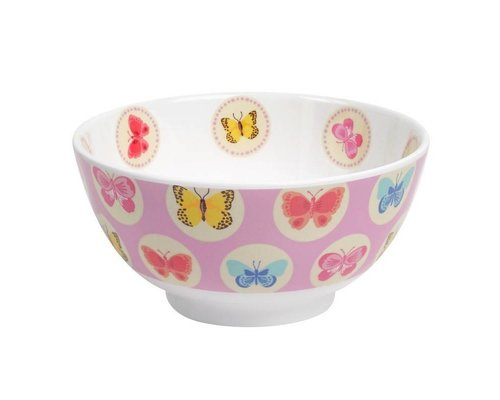 Happy Butterflies Medium Melamine Bowl - Pink