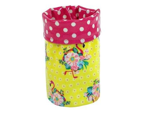 Pink Flamingos Pencil Holder - Yellow