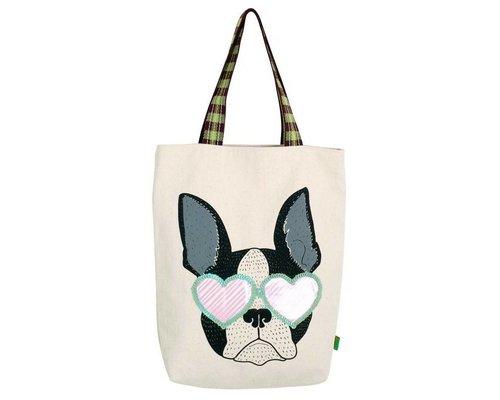 Bull Dog Head Rock & Roll Tote Bag