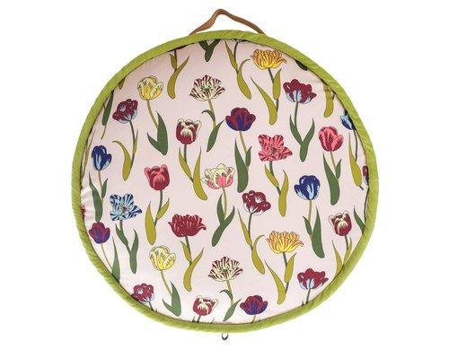 Flower Rain Small Round Floor Cushion
