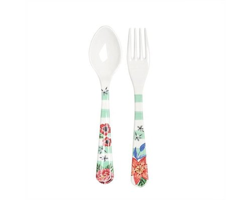 Summer Blossom Spoon and Fork - Stripes