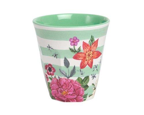 Summer Blossom Medium Melamine Cup  - Stripes