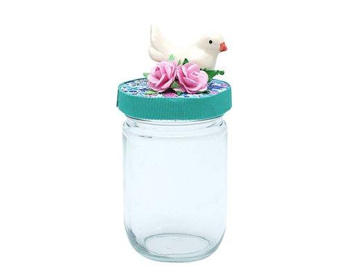 Glass Jar Bird - White