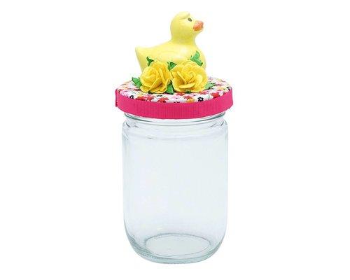 Glass Jar Bird - Yellow
