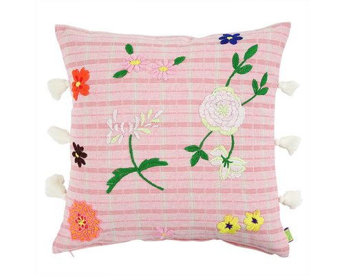Cushion with Flower Embroidery - Pink