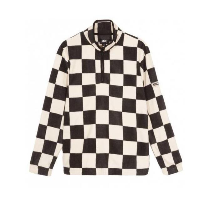 Checkered Mock Neck Black