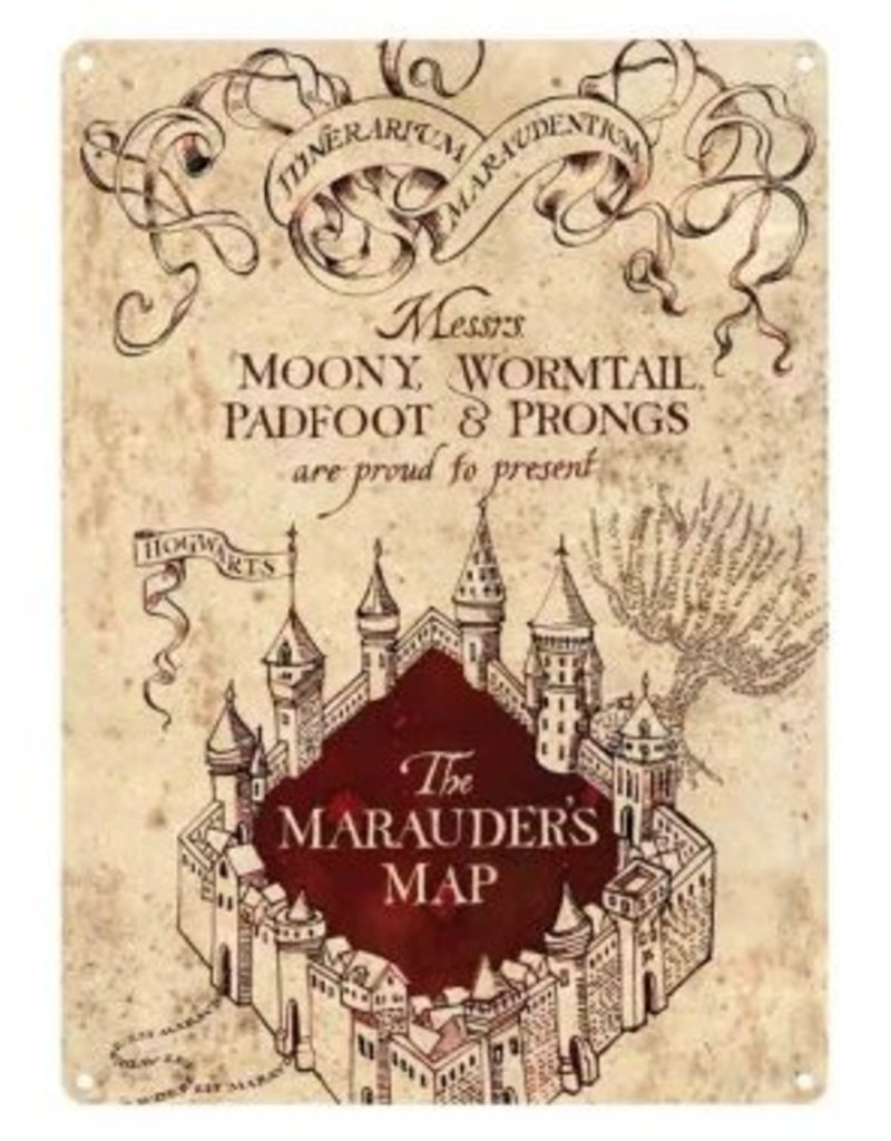 harry potter small tin sign  marauders map. harry potter small tin sign  marauders map  mrs puddifoots