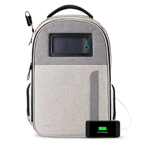 Life Pack Solar Powered Anti-theft Backpack Grey
