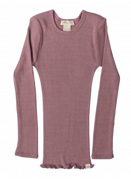 Minimalisma Bergen shirt lange mouw zijde -fijn geribd - 70% zijde/ 30% katoen -  cosy rose - 2 tm 6 jaar