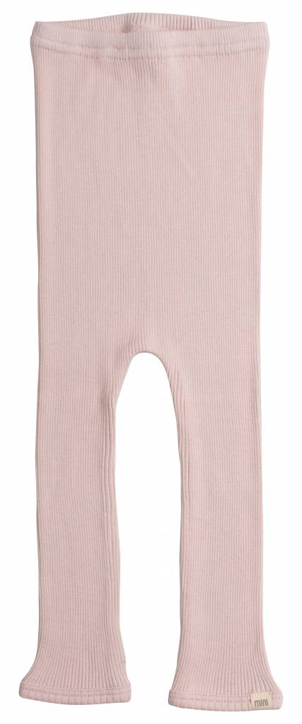 Minimalisma Bieber silk leggings - fine rib - 70% silk- sweet rose - 18m to 8y
