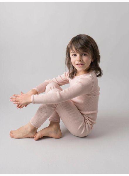 Minimalisma Bergen shirt lange mouw zijde -fijn geribd - 70% zijde/ 30% katoen -  zacht rose - 2 tm 6 jaar
