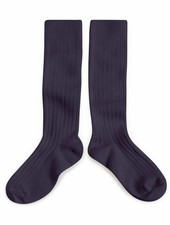Collégien Knee socks - Egyptian cotton ribbed - Nuit étoilée / Night blue - 21 tm 35