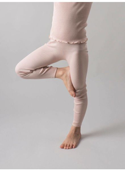 Minimalisma Bieber silk leggings - fine rib - 70% silk - sweet rose - 18m to 8y