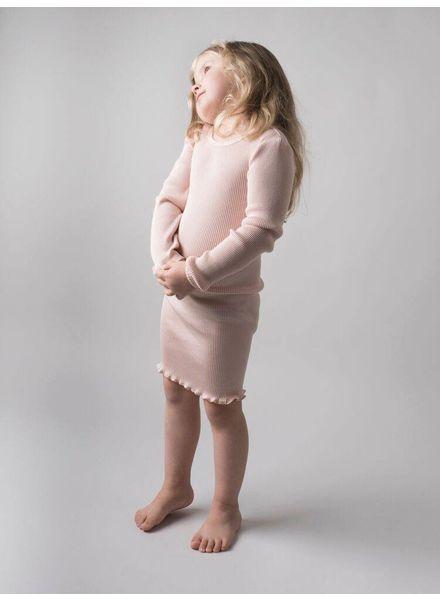 Minimalisma Bina jurk zijde - fijn geribd - 70%zijde - zacht roze - 2 tm 8 jaar