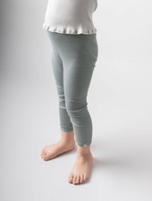 Minimalisma Bieber silk leggings - fine rib - 70% silk - pale jade - 18m to 8y