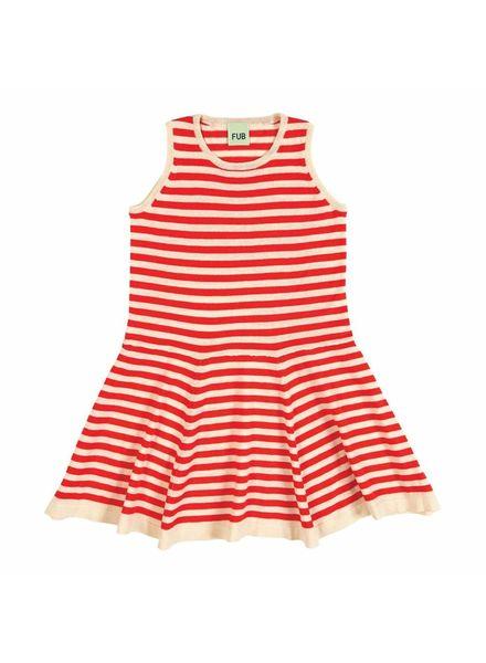 FUB sailor stripe dress - 100% organic cotton fine knit - ecru/red - 90 to 130
