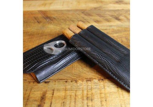 Triple Black Cigar Case incl. Cutter