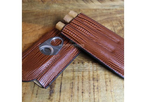 Triple Brown Cigar case incl. Cutter