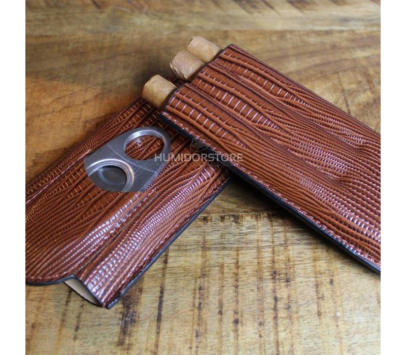 Triple Brown Cigar case incl. Guillotine Cutter