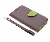 Blatt-Design TPU Booktype Hülle Braun für Samsung Galaxy S5 (Plus)/Neo