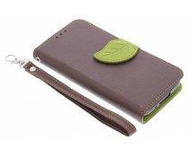 Blatt-Design TPU Booktype Hülle Braun für Samsung Galaxy S5 Mini