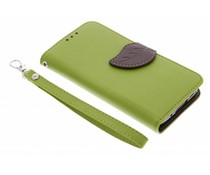 Grüne Blatt-Design TPU Booktype Hülle für Samsung Galaxy S5 Mini