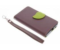 Blatt-Design TPU Booktype Hülle Braun für Sony Xperia Z5 Compact