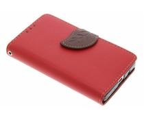 Blatt-Design TPU Booktype Hülle Rot für Sony Xperia Z5 Compact