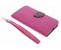 Fuchsiafarbene Blatt-Design TPU Booktype Hülle für  Samsung Galaxy J5
