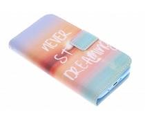 Never stop dreaming Design TPU Booktype Hülle für Samsung Galaxy S5 Mini