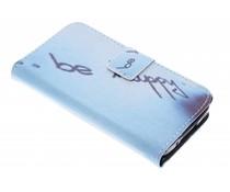 Be happy Design TPU Booktype Hülle für Samsung Galaxy S5 Mini