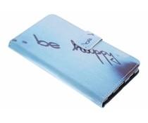 Be happy Design TPU Booktype Hülle für Huawei P8