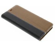 Schwarze Holz Leder Design Booktype Hülle für Huawei P9 Lite